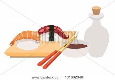 Sashimi and chopstick vector illustrations. Sushi and soy sauce vector. Seafood fish fillet. Japanese food objects set. Cartoon style asian food. Vector illustration isolated on white background