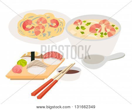 Asian food vector. Japanese food illustrations. Chinese thai food flat cartoon style. Web banner isolated on white background. Tom Yam soup sashimi chopstick noodles with shrimps