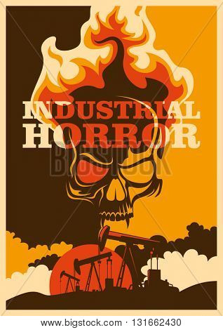 Apocalyptic conceptual retro poster. Vector illustration.