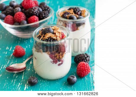Berries flakes and fresh greek yogurt in a jar