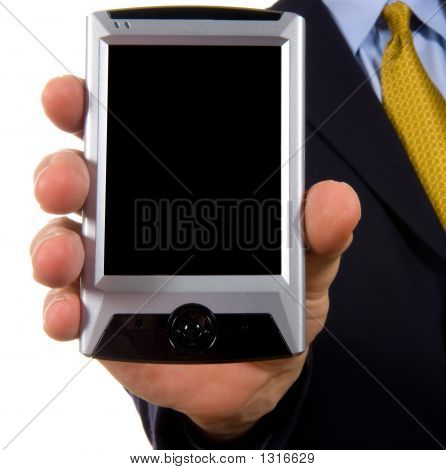 Business Man Showing Personal Digital Assistant