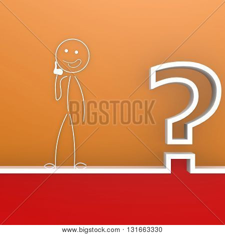 Question mark with curious puppet image, 3D, rendering