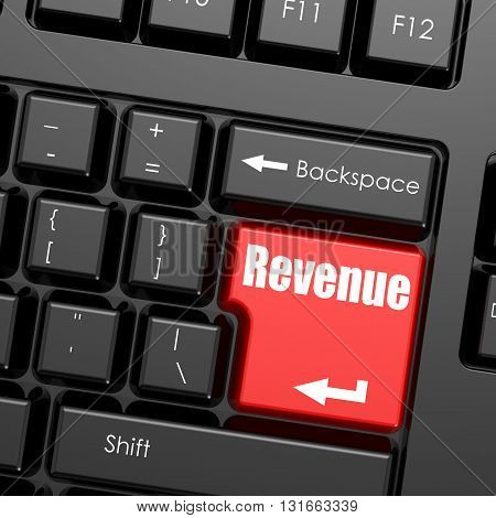 Red enter button on computer keyboard Revenue word. Business concept, 3D rendering