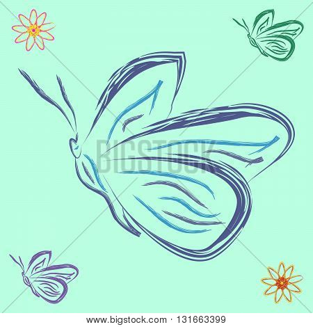 butterflies and flowers	cheerful background with different butterflies and flowers