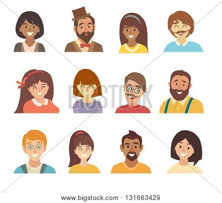 People icons vector set.Face of people icons.Face of people icons cartoon style.Man and woman characters.People head flat icons collection. Isolated white background.People of different nationalities