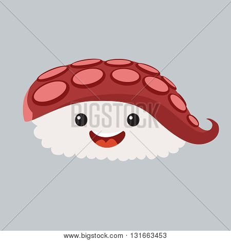 Fun sashimi vector cartoon character. Cute sashimi with octopus. Japanese food. Sushi with cute faces.Happy octopus sushi characters.Vecor sashimi icon.Vector illustration isolated on white background