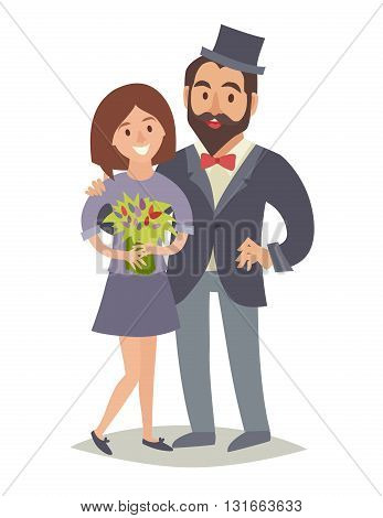 Men and women in love. Lovely happy couple. Happy people. Flat vector illustration. Cartoon characters on isolated background