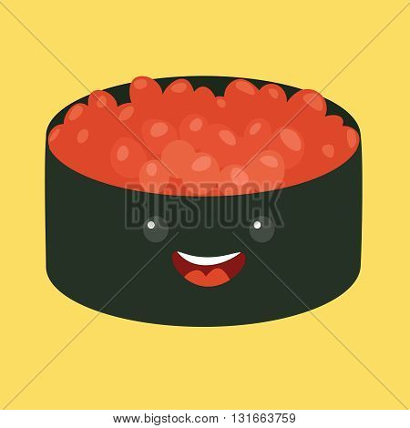 Fun sushi vector cartoon character. Cute sushi with caviar. Japanese food. Sushi with cute faces. Happy sushi characters. Vector illustration sushi icon. Shushi isolated on white background