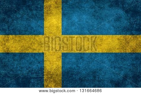 Swedish national flag with a vintage textured treatment