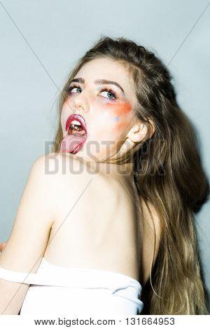 Girl With Orange Makeup