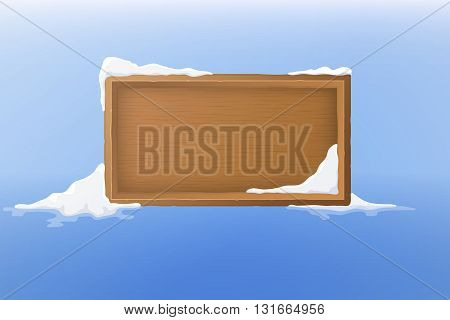 Vector wood frame with snow. Vector illustration.
