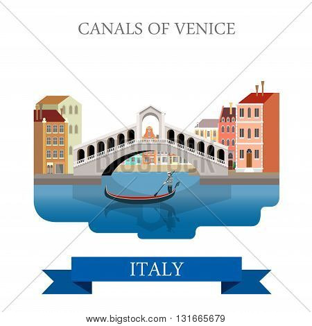 Rialto Bridge Canals Venice Italy flat vector sight landmark