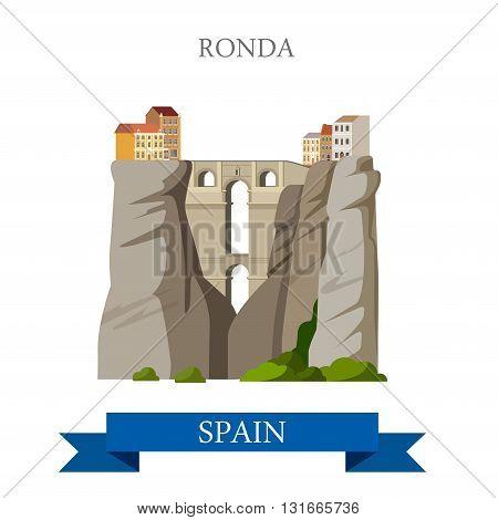 Ronda Bridge El Tajo Canyon Malaga Andalusia Spain flat vector