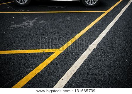 an outdoor car parking lot horizontal composition