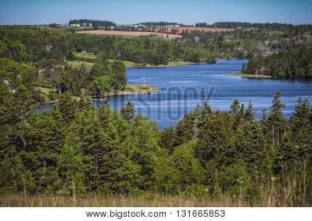 A winding river in rural Prince Edward Island, Canada.