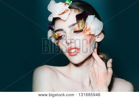 Girl With Floral Makeup