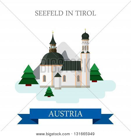 Seefeld Tirol Village Innsbruck Austria flat vector attraction