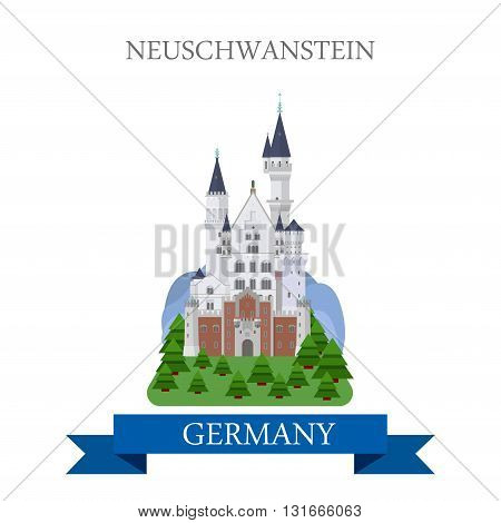 Neuschwanstein Castle Bavaria Germany flat vector attraction