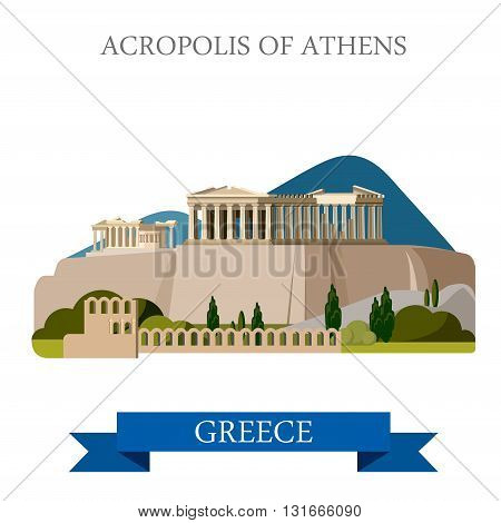 Acropolis Athens Greece flat vector attraction sight landmark