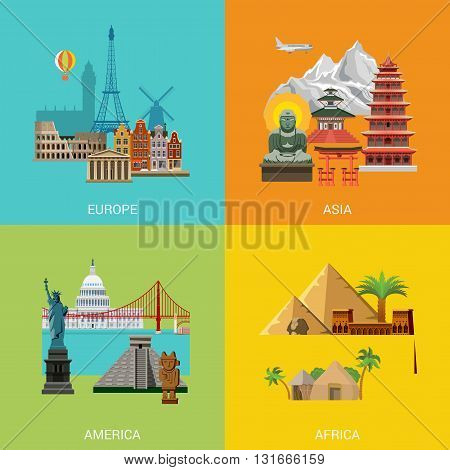 Vector Europe Asia America Africa travel vacation landmark