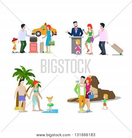 Family summer holiday travel beach vacation Egypt flat vector