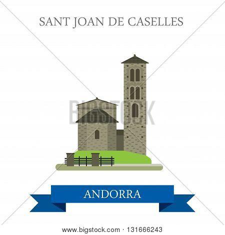 Sant Joan de Caselles Andorra flat vector attraction landmark