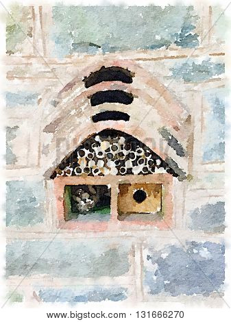 Digital watercolor of an insect house bug hotel ladybird and bee home used for nesting and winter accommodation for bees and other insects and for butterfly hibernation and ecological gardening. The house is filled with wood and pine cones and set in a st