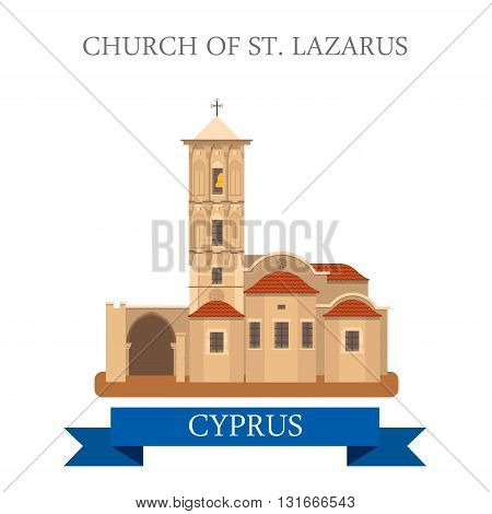 Church St Lazarus Larnaca Cyprus flat vector attraction sight