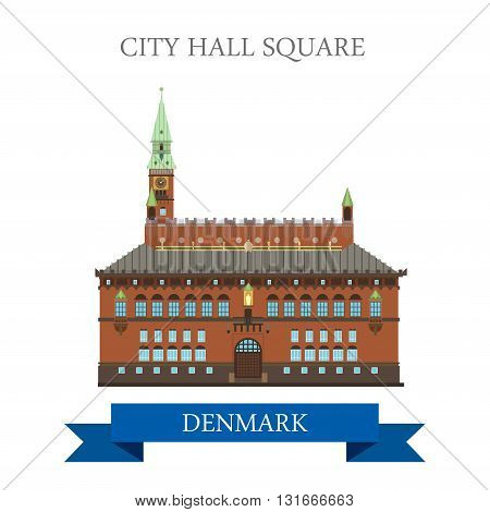 City Hall Square Copenhagen Denmark flat vector attraction sight