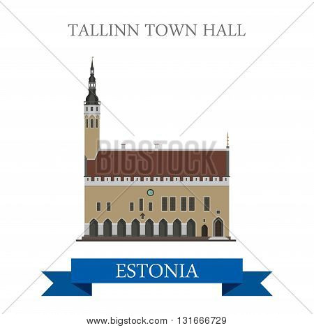 Tallinn Town Hall Estonia flat vector attraction sight landmark