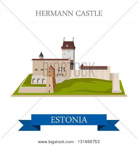Hermann Castle in Estonia flat vector attraction sight landmark