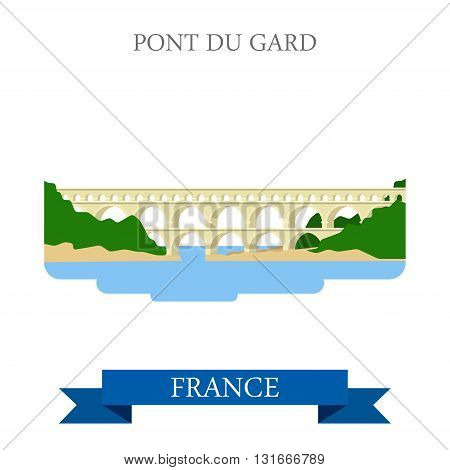 Pont du Gard in France flat vector attraction sight landmark