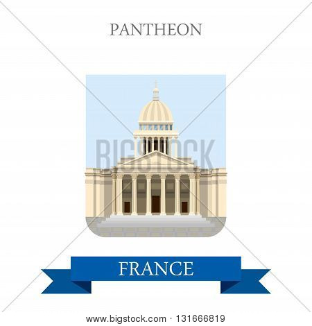 Pantheon in Paris France flat vector attraction sight landmarks