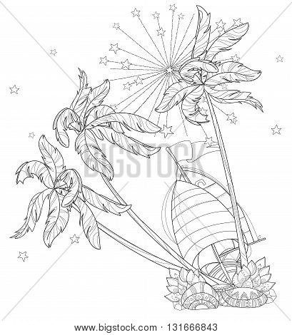 Hand drawn doodle outline palm tree and boat decorated with floral ornaments.Vector zen art illustration.Floral ornament.Sketch for tattoo, poster or adult coloring pages.Boho style.