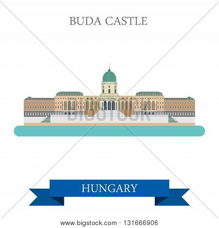 Buda Castle in Budapest Hungary flat vector attraction landmarks