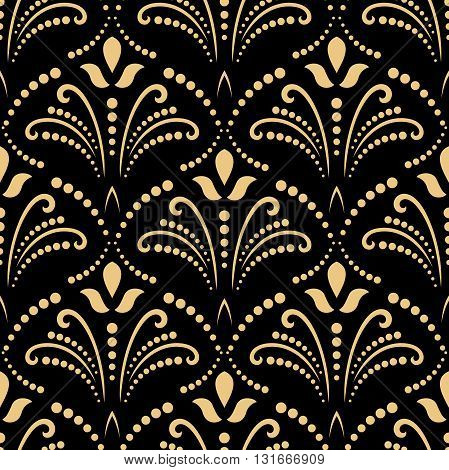 Oriental vector classic pattern. Seamless abstract background with repeating elements. Black and golden pattern