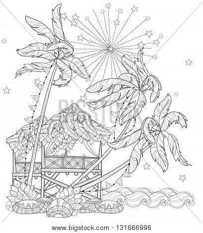 Hand drawn doodle outline palm tree, fairy cartoon city , fireworks, indian ocean decorated with floral ornaments.Vector zen art illustration.Sketch for tattoo or adult coloring pages.Boho style.