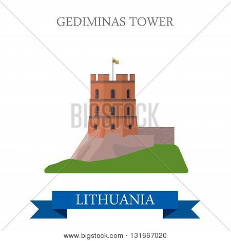 Gediminas Tower in Lithuania flat vector attraction sight