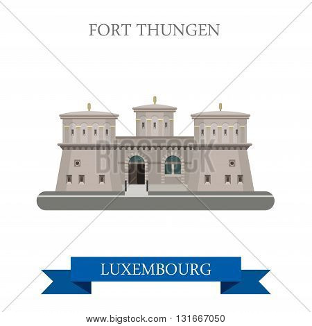 Fort Thungen in Luxembourg flat vector attraction sight landmark