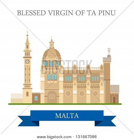 Blessed Virgin of Ta Pinu in Malta flat vector sight landmark