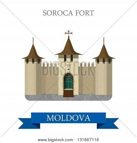 Soroca Fort in Moldova Europe flat vector attraction landmark