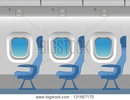 Aircraft cabin with passenger seats. Vector illustration.