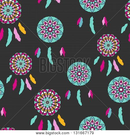 Seamless pattern with freehand dreamcatchers. Tribal vector illustration on dark background. Boho style wallpaper. Dreamcatchers with feathers