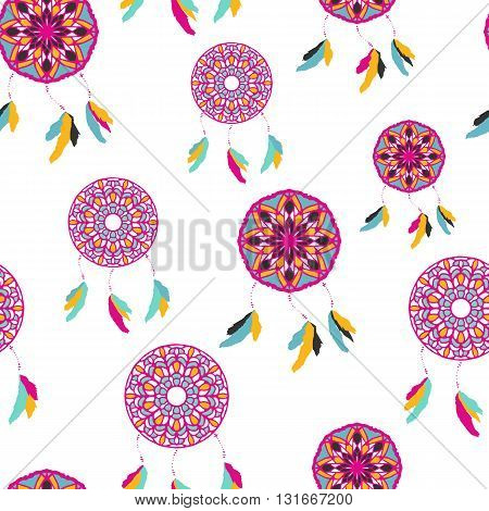 Seamless pattern with freehand dreamcatchers. Tribal vector illustration on white background. Native american style wallpaper. Dreamcatchers with feathers
