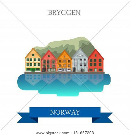 Bryggen in Norway historic flat vector attraction sight landmark