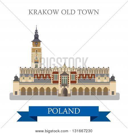 Krakow Old Town Poland Europe flat vector attraction landmark