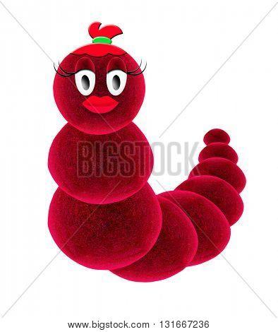 Red caterpillar. Rabbit cartoon. 3d Illustration.