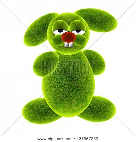 Green rabbit. Rabbit cartoon. 3d Illustration.