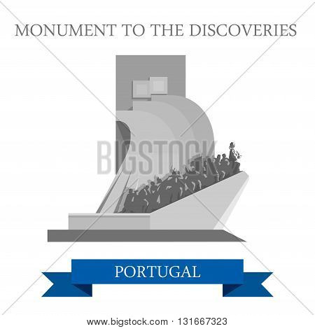 Monument to Discoveries Portugal Europe flat vector attraction