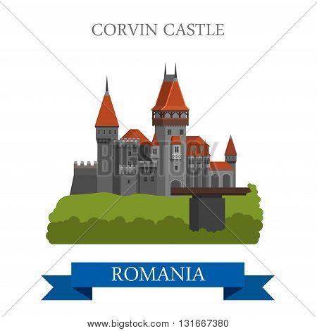 Corvin Castle Romania Europe flat vector attraction landmark